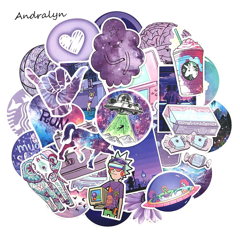50Pcs/Set Cartoon Graffiti Stickers Purple Fresh Stickers For DIY Luggage Laptop Refrigerator Motorcycle Car Pegatinas