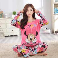 Mulheres Mickey Conjunto Pijama Minnie Menina Dos Desenhos Animados Sleepwear Pijama Mulheres Longas Pijama Terno Feminino Conjunto de Roupas 2019 Roupa de Dormir