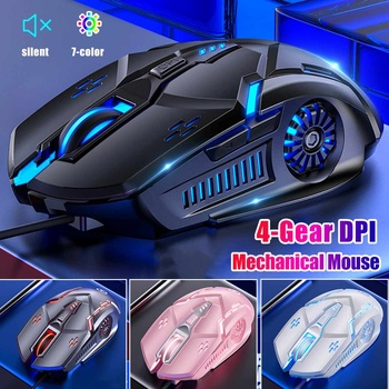 Wired Gaming Mouse 6 Buttons Ergonomic Mice Colorful LED Light Mouse For PC Computer Laptop Game Office Silent / Sound Mouse
