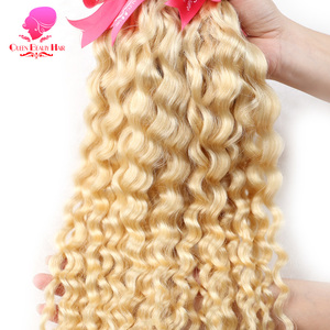 Image 3 - QUEEN BEAUTY 1 3 4 Pcs 613 Blonde Bundles Brazilian Curly Weave Human Hair Blonde Deep Wave 8   30 inch Hair Weft Free Shipping
