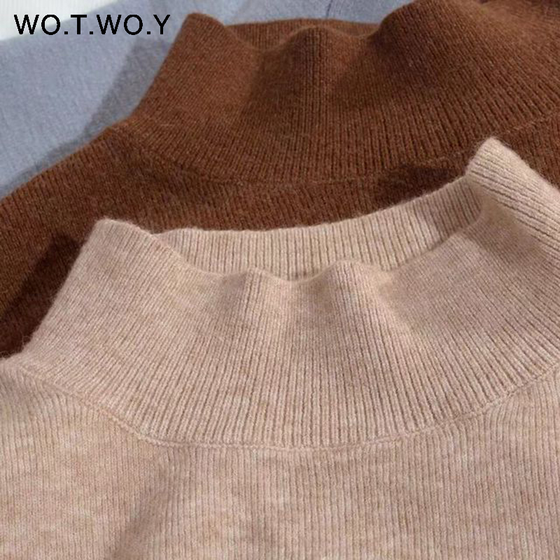 WOTWOY 19 Cashmere Knitted Women Sweater Pullovers Turtleneck Autumn Winter Basic Women Sweaters Korean Style Slim Fit Black 12