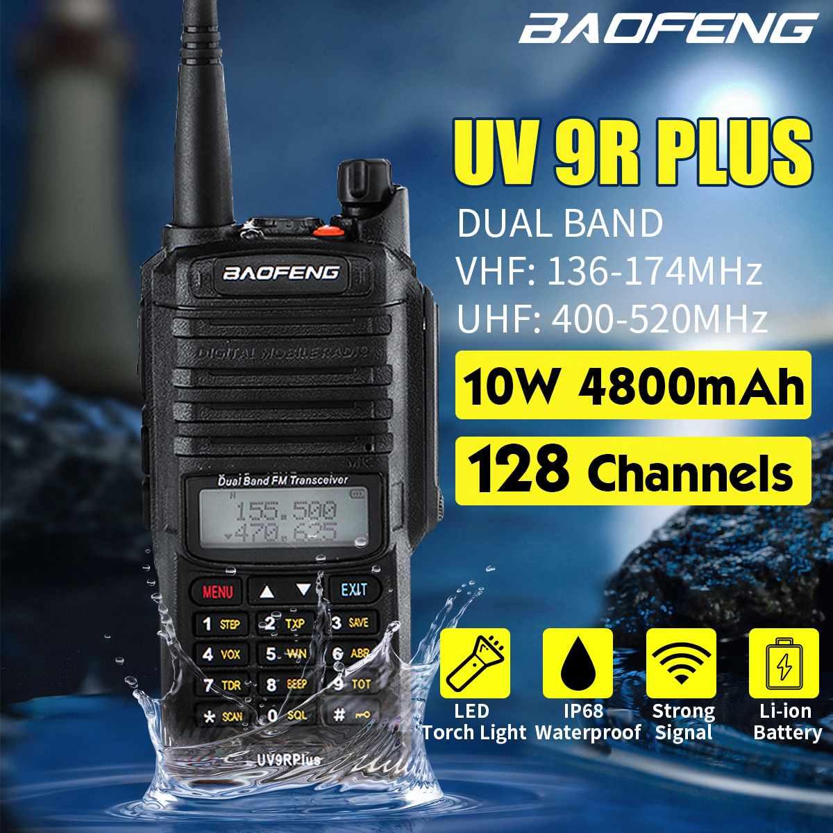 6in1 BaoFeng UV-9R Plus Waterproof Handheld Walkie Talkie 10W UHF VHF Dual Band IP67 HF Transceiver UV 9R Portable Radio US Plug