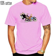 3589D Hommes t-shirt Nouvelle Mode Décontracté T-shirts Erp Aventures De Tintin Et Milou Graphique Imprimé Col Rond Hauts femmes Noires