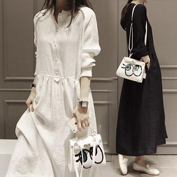 9120 #2018 Autumn New Style Korean-style Long Sleeve Loose And Plus-sized Skirt Cotton Linen Dress