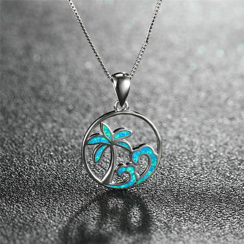 Cute Female Coconut Tree Wave Pendants Necklaces Fashion silver color Choker Necklace Blue Fire Opal Necklaces For Women