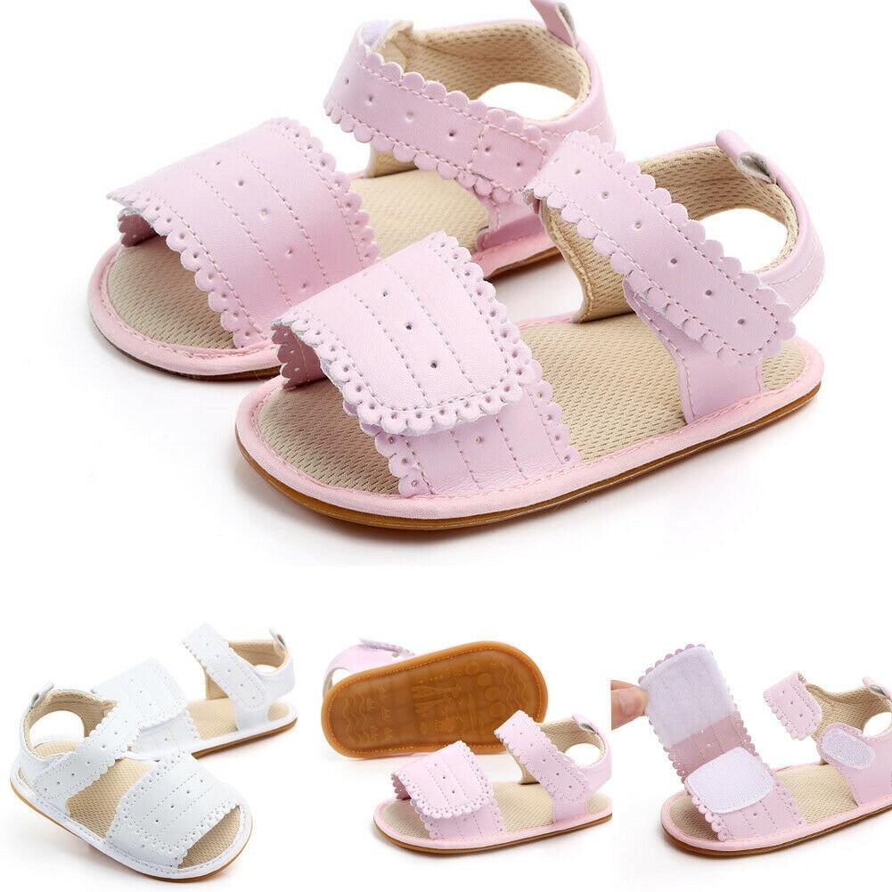 2020 New Summer Toddler Baby Girls Sandals PU Leather Soft Sole Infant Moccasins Princess Non-Slip Shoes Kids Flat Sandal