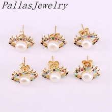 10Pairs Natural freshwater pearl charm rainbow cz micro pave gold eyes stud earrings for women