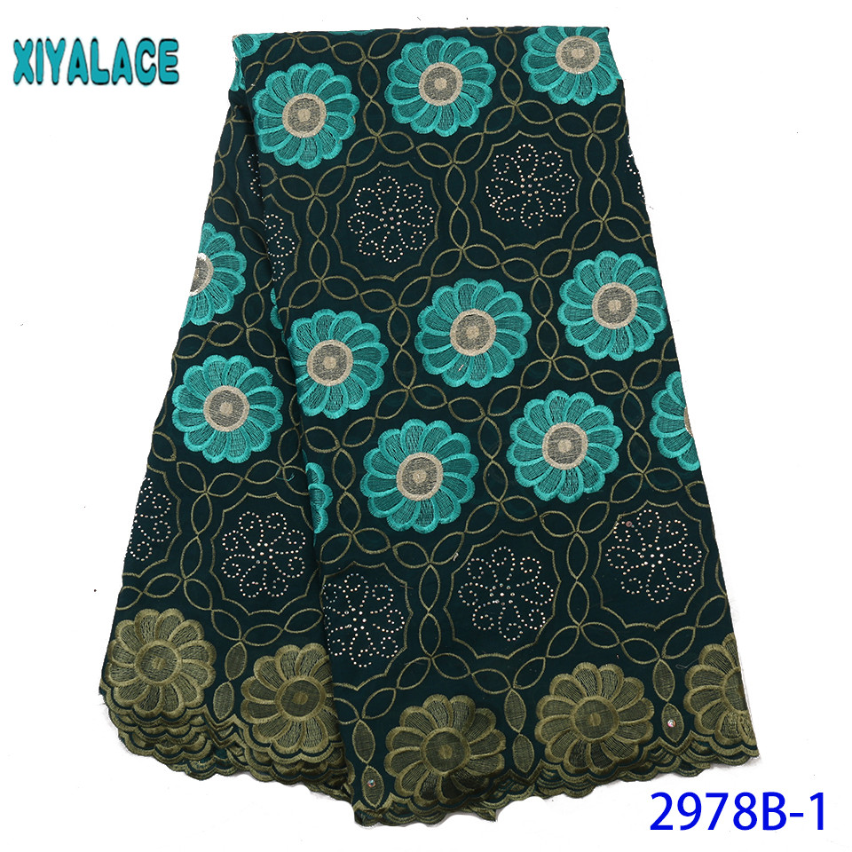 Latest French Stones Green Lace Fabric Guipure African Lace Fabric Voile Lace For Wedding Party Floral Embroidery Nige YA2978B-1