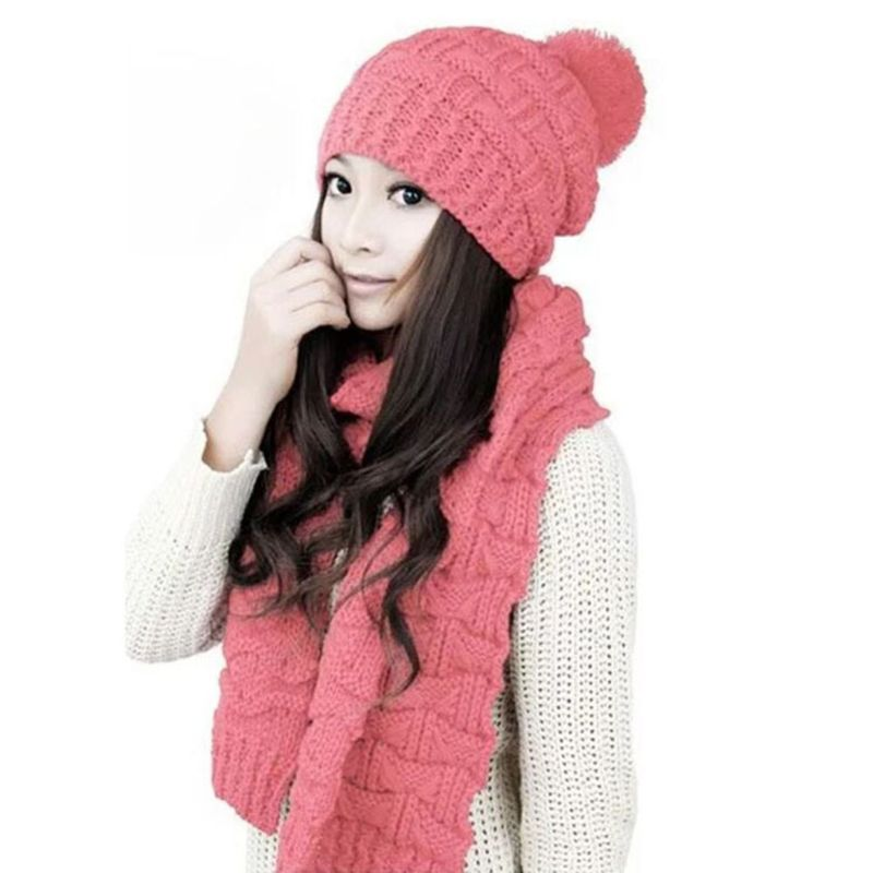 2019 Women Winter Crochet Knit Hat Scarf Set Solid Color Pompom Beanie Cap Neck Shawl