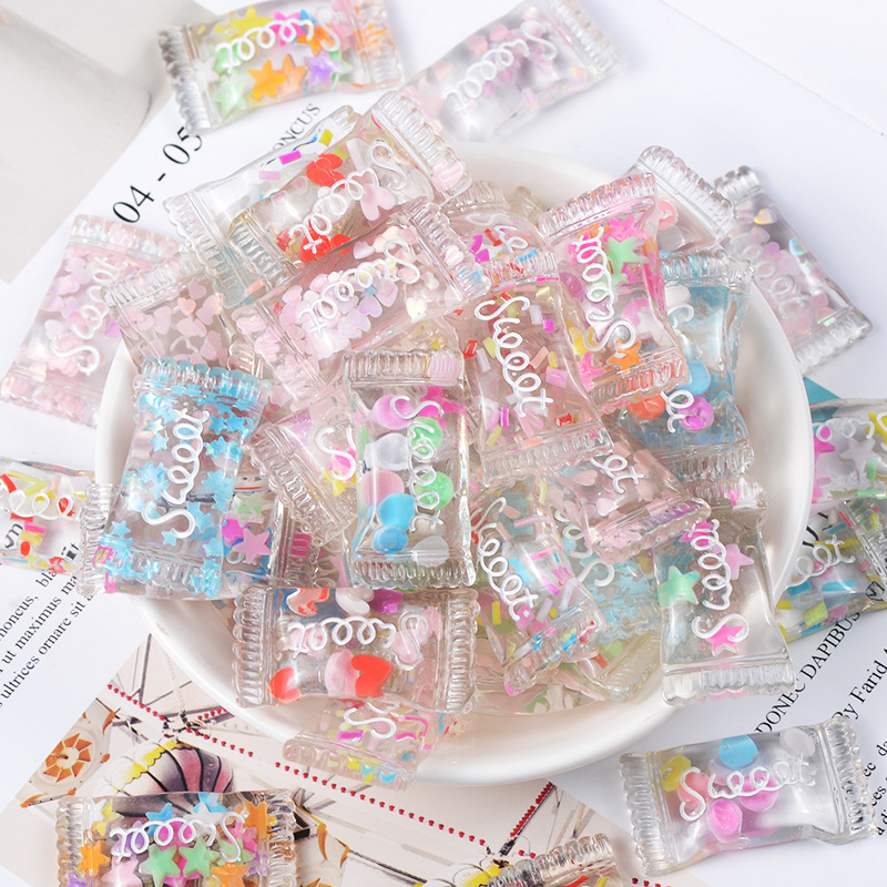 10Pcs 33x18mm Mix Colors Resin Kawaii Glitter Sweet Candy Flatback Cabochons For DIY Hair Bow Center Scrapbooking Accessories