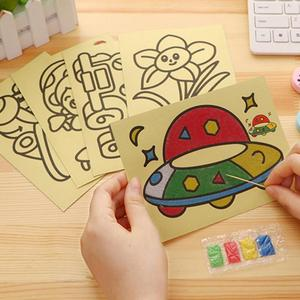 Creative DIY Sand Painting Kids Toys Children Crafts Doodle Colour Sand Art Pictures Drawing Paper Educational Toys Juguetes
