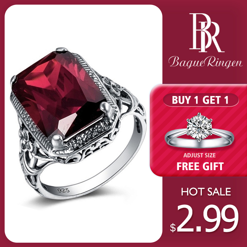 Bague Ringen Rectangle Vintage Red Ruby Rings For Women New Fashion Gemstone Silver 925 Jewlery Ring Wholesale Party Gifts(China)