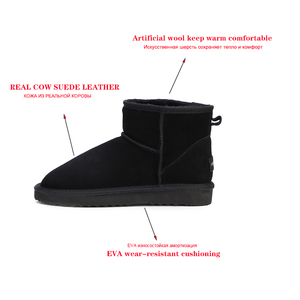 Image 2 - MBR FORCE Australia Women  Snow Boots 100% Genuine Cowhide Leather Ankle Boots Warm Winter Boots Woman shoes large size 34 44