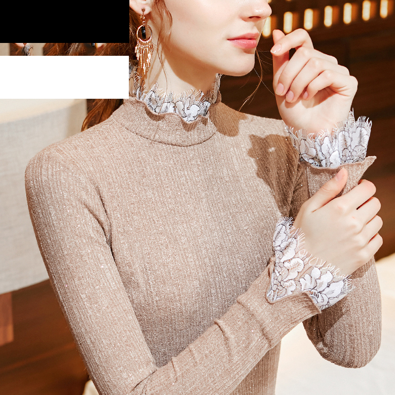 Latin Dance Clothes Ladies Autumn Dress Women Stitching Lace Lace Half-High Collar Long-Sleeved Bell-Sleeve Balroom Tops BI044
