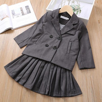 2019 Fall Girls Clothing Sets Fashion Formal Party Two Piece Set Double breasted Blazer Coat+Tutu Skirt For 1 7Yrs Girls Clothes