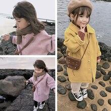 Шерстяная куртка Корейская стеганая хлопковая детская зимняя длинная куртка теплая куртка для малышей однотонная детская утепленная верх...