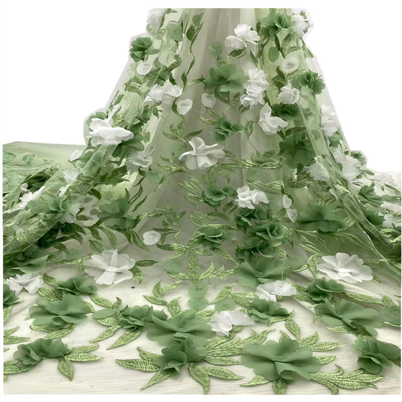 High Quality African Tulle Lace Fabric Embroidery  Nigerian fabric lace 3 D applique Wedding Party Dress JH-250