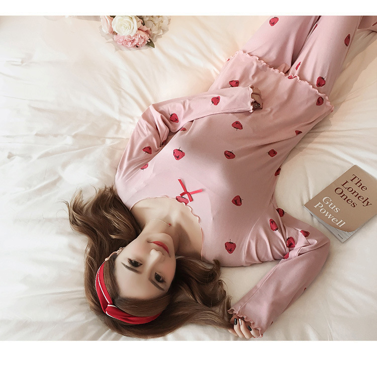 Autumn Women Cotton Pajamas Sets 2 Pcs Cartoon Printing Pijama Pyjamas Long Sleeve Bowknot Pyjama Sleepwear Sleep Set 62