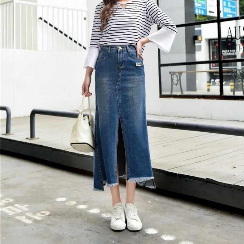 Plus Größe Casual Feste Hohe Taille Denim Röcke Frauen 2020 Neue Streetwear Lange Jean Röcke Koreanische Slim Fit Wrap Meerjungfrau röcke