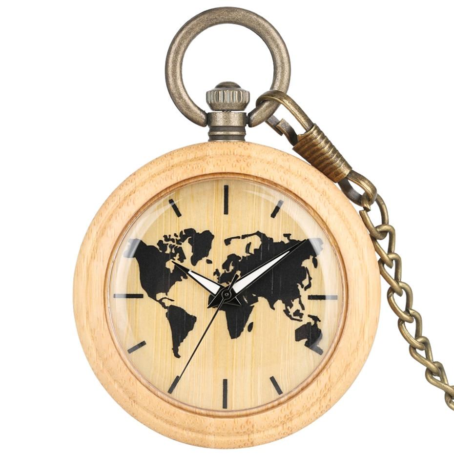 Natural Bamboo Wood Black World Map Display Quartz Pocket Watch Bronze Pocket Chain Steampunk Creative New Pendant Clock Gifts