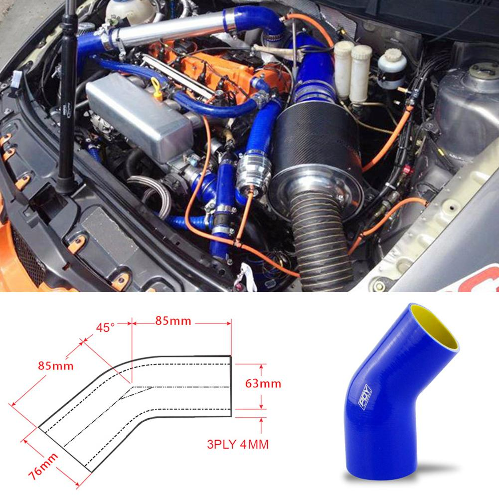 Universal Car Air Inlet Intake Hose 2.5inch-3inch 63mm-76mm 45 Degree Silicone Tube Turbine
