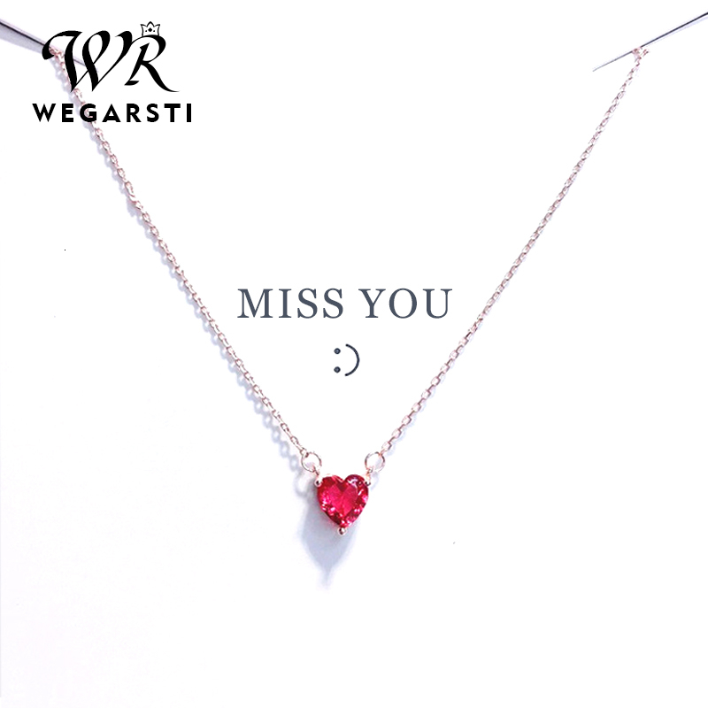 WEGARASTI Silver 925 Jewelry Necklace Red Heart Chain Crystal Simple Pendant Necklace For Women Wedding Fine Jewelry