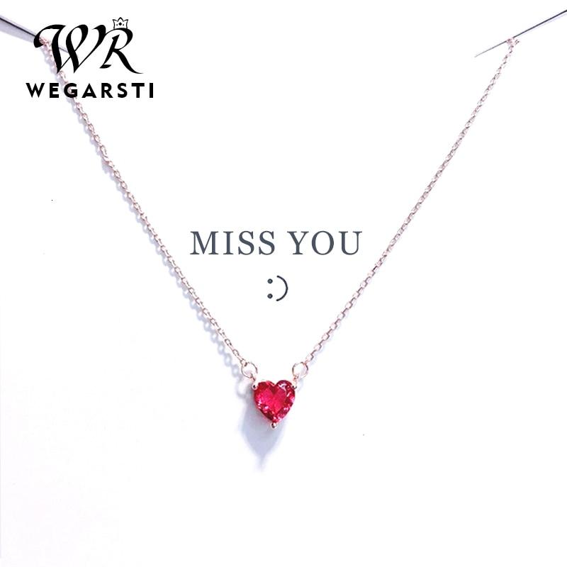 WEGARASTI Silver 925 Jewelry Necklace Red Heart Chain Crystal Simple Pendant Necklace For Women Wedding Fine Jewelry