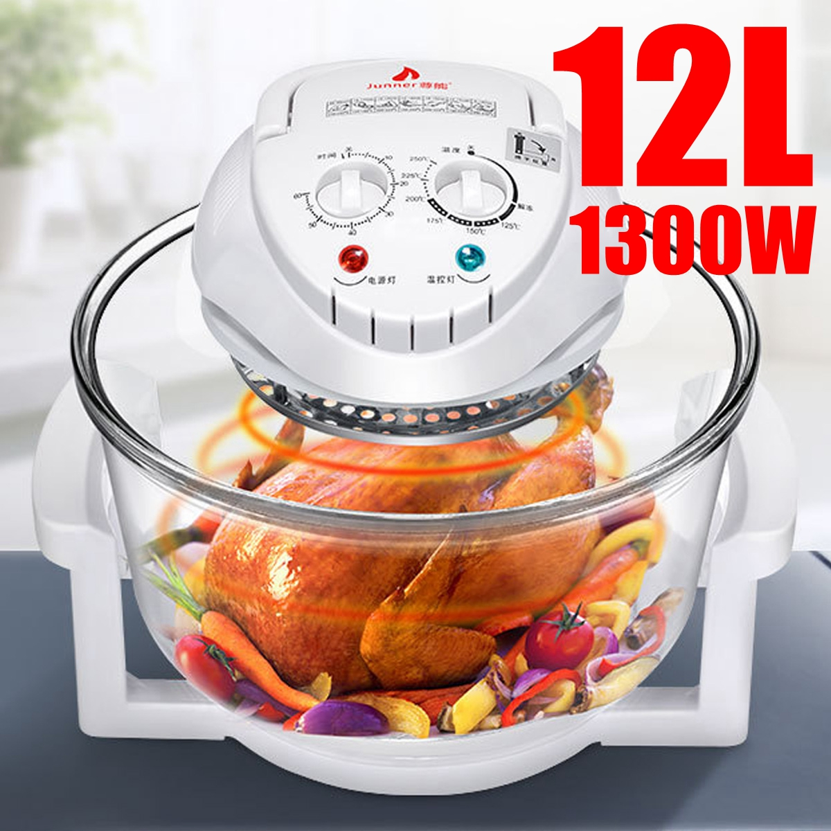 1300W Conventional Infrared Oven Roaster Air Fryer Turbo Electric Cooker 12L 110V-240V Multifunction BBQ Bake Cook With Recipe