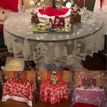 Stofdicht Christmas Party Tafel Dekken Wit Vintage Kant Ronde Tafel Doek Cover Bloemen Tafelkleed Bruiloft Home Decor(China)