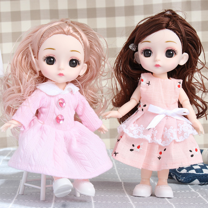 1/8 Lovely Princess Bjd Dolls With Clothes 16 CM 13 Joint Movable DIY Dress Up Long Curls Makeup BJD Doll for Girls Birthday Toy