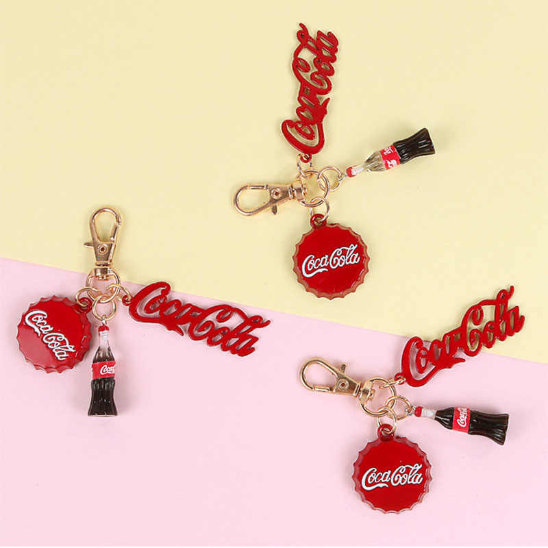 Cute Resin Cartoon Cola Bottle Key Chains Bags Car Key Ring Keychains Women Men Keychain Accessories Gifts Pendant Jewelry
