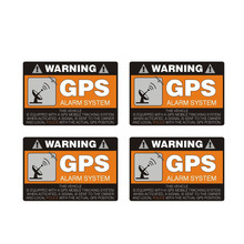 Car Sticker 4x Warning GPS Alarm System Automobiles Motorcycles Exterior Accessories PVC Decal 8cm*5 3cm cheap The Whole Body Glue Sticker 0 01cm Stickers Words Creative Stickers Not Packaged
