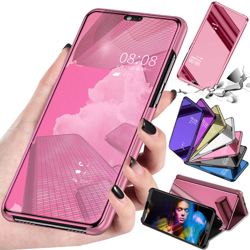 Mirror Flip Case For <font><b>Huawei</b></font> y7 prime 2018 Case Cover For <font><b>Huawei</b></font> y6 y7 y9 prime y5 <font><b>2019</b></font> Stand Case y5 prime lite 2018 Coque <font><b>Funda</b></font> image