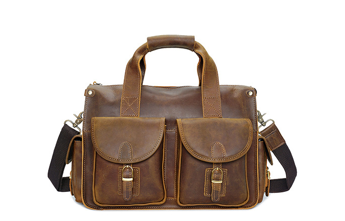 Vintage Solid Horse Leather Men Breifcase Office Laptop Business Handbags