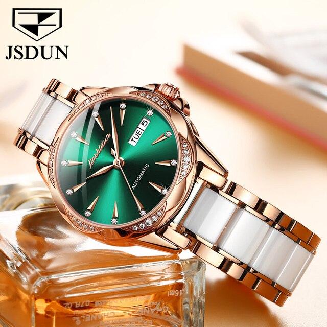 JSDUN Women Mechanical Watch Rose Gold Stainless Steel Ceramics Strap Dress Watches Fashion Luxury Brand Women's Automatic Watch 3