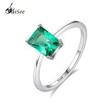 SaiSee Luxury Big Emerald Engagement Jewelry Rings for Women Genuine 925 Sterling Silver Geometry Gemstone Wedding Ring Female