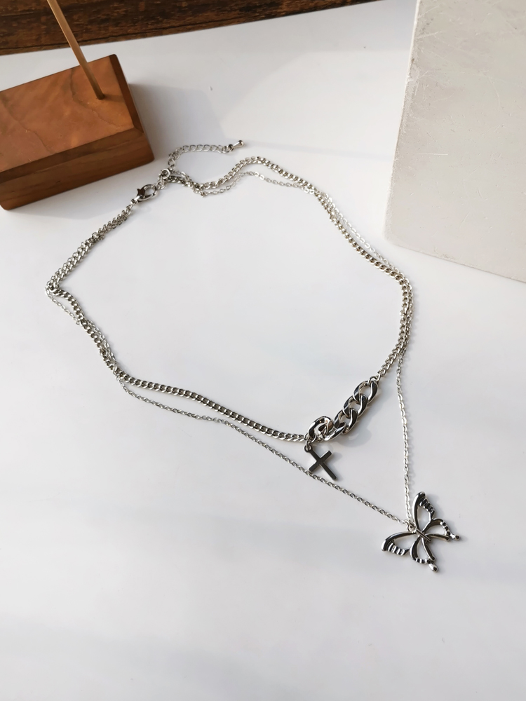 New Fashion Creative Chic Double Layer Cross and Butterfly Pendant Necklace 306