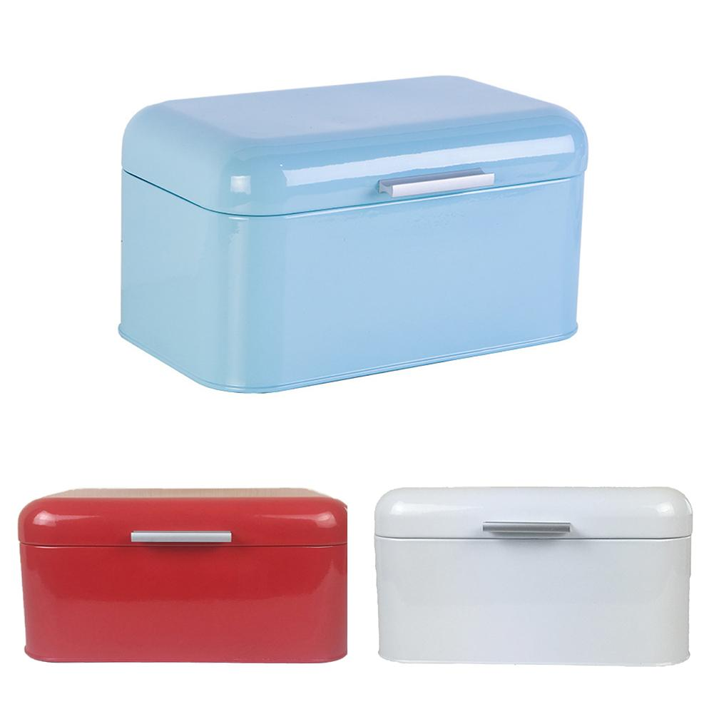 Bread Box Metal Storage Case European Style Retro Bread Pastry Kitchen Storage Container Bule