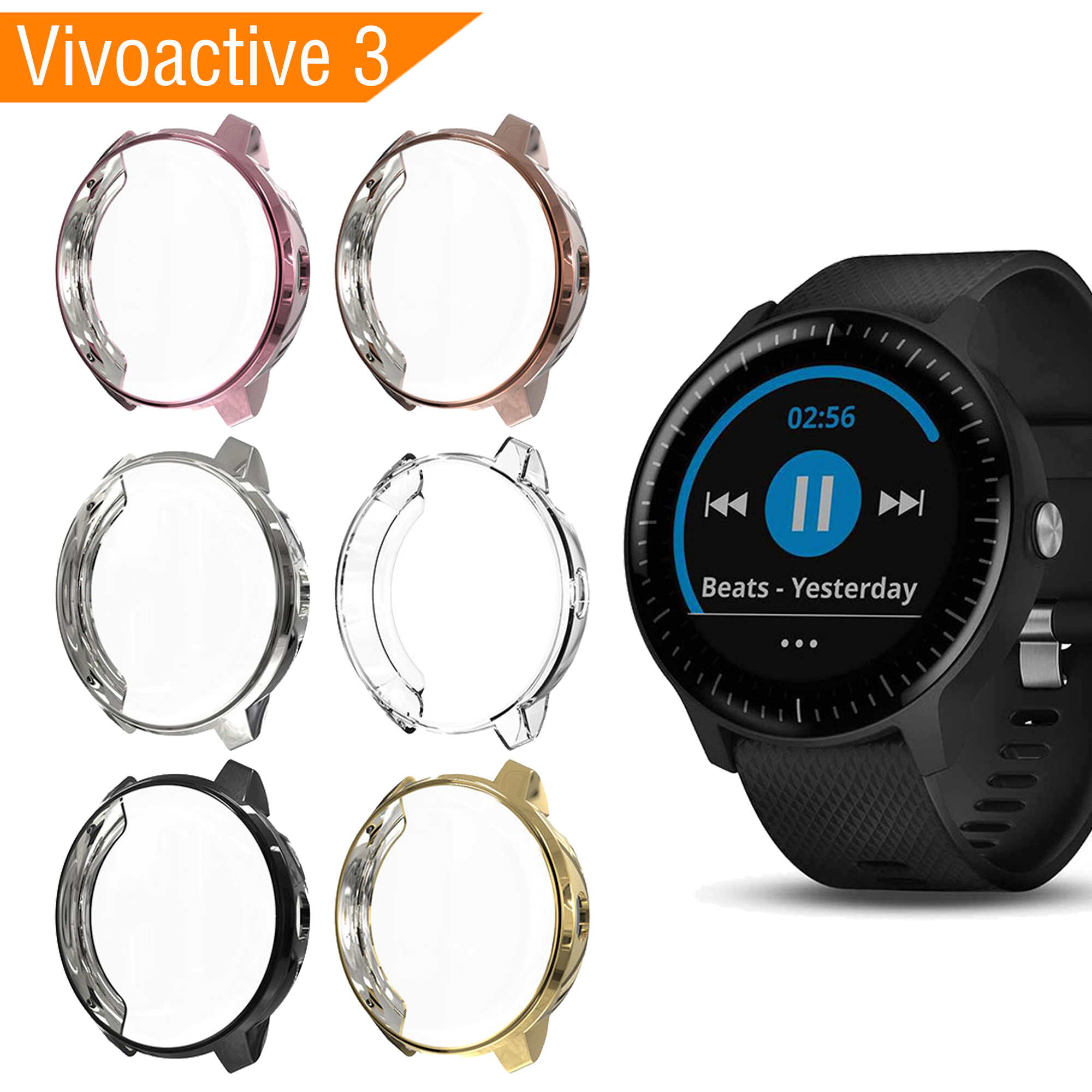 2019 Smart Watch Case For Garmin Vivoactive 3 Full Protection TPU Case For Garmin Vivoactive3 Screen Protector For Vivoactive 3