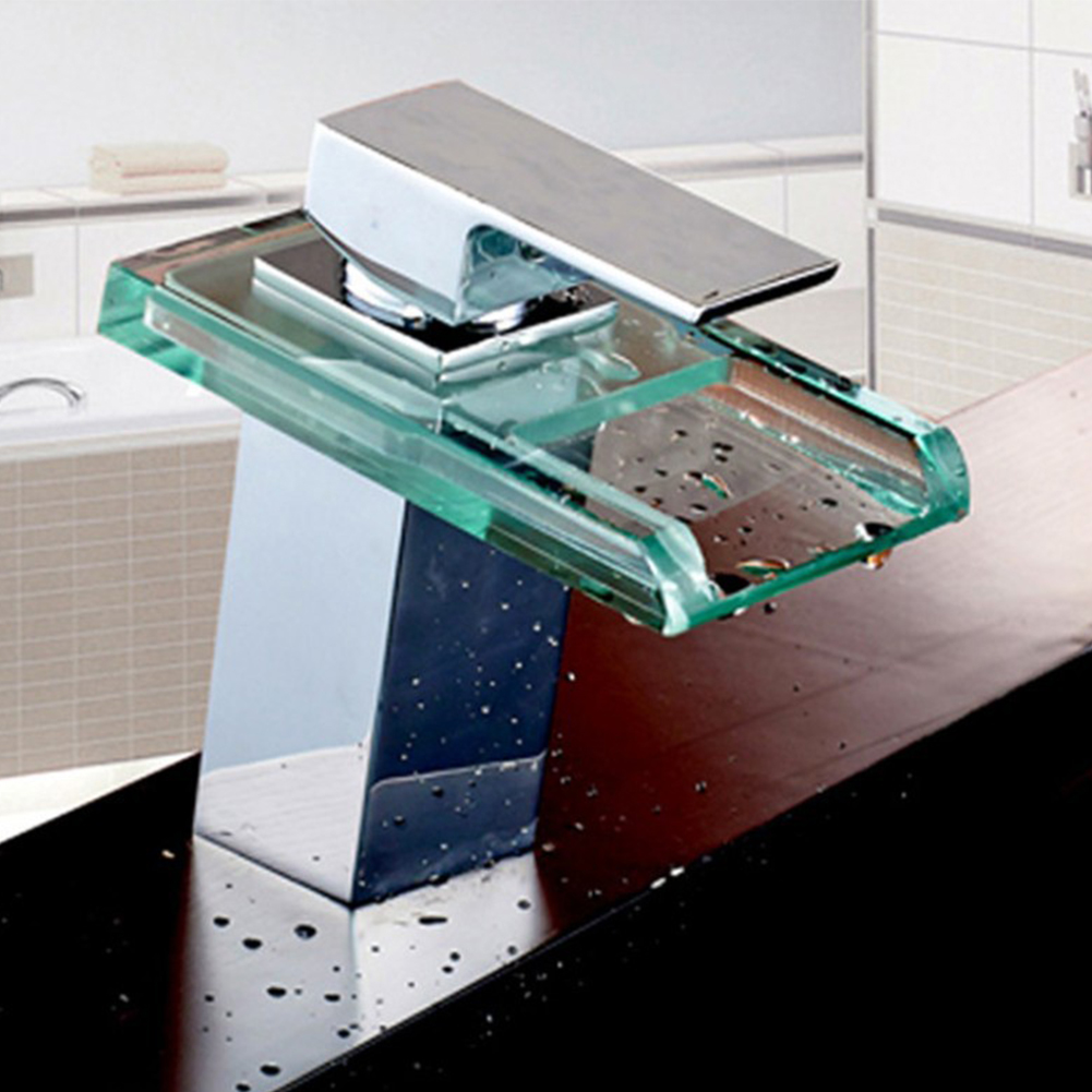 LED robinet de lavabo en laiton cascade température couleurs changement salle de bain mélangeur robinet pont monté lavabo robinets en verre - 4