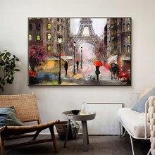 Pintura al óleo abstracta sobre lienzo con paisaje de la Torre Eiffel de París para peatones de la ciudad romántica, póster impreso para la pared, imagen para la sala de estar