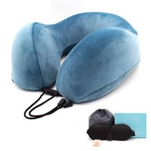 Memory Foam U-Shape Travel Pillow Airplane Solid Color Pillows