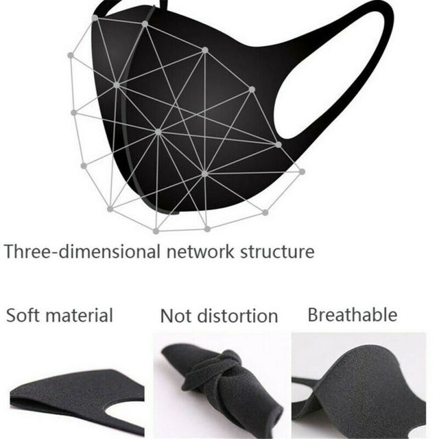 1Pcs Cotton PM2.5 Black Mouth Mask Anti dust Mask Activated Carbon Filter Windproof Mouth-muffle Bacteria proof Flu 3
