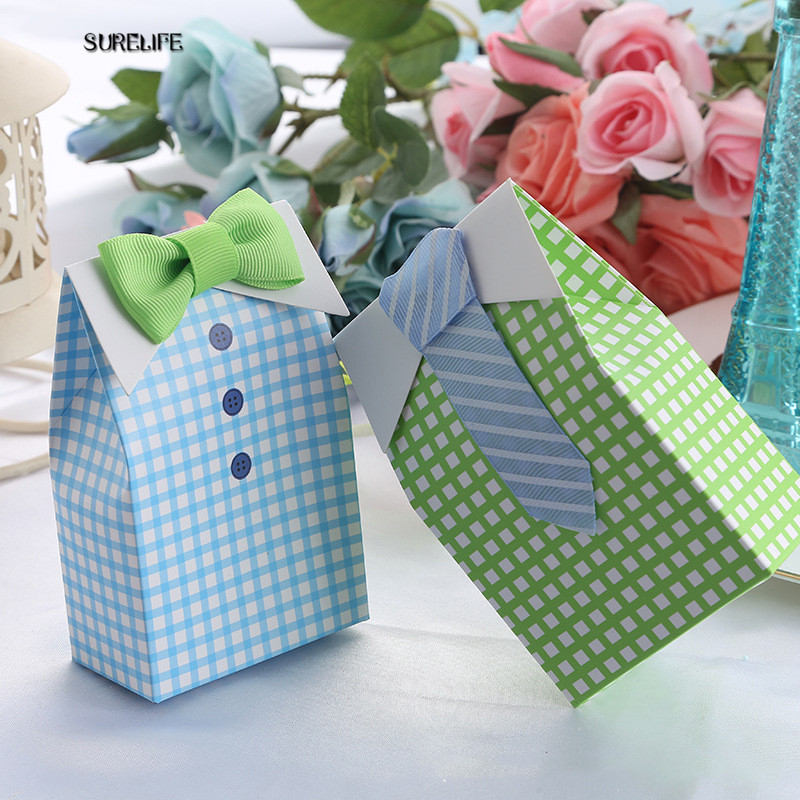 100pcs My Little Man Blue Bow Green Tie Birthday First Communion Boy Baby Shower Candy Bag Wedding Favors Candy Box Gift Bags