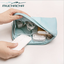 Muchacha Trendy Twill Nylon Travel Mobile Gadget USA Cable Devices Insertion Organizer Flight Pilot Digital Storage Pouch Bag