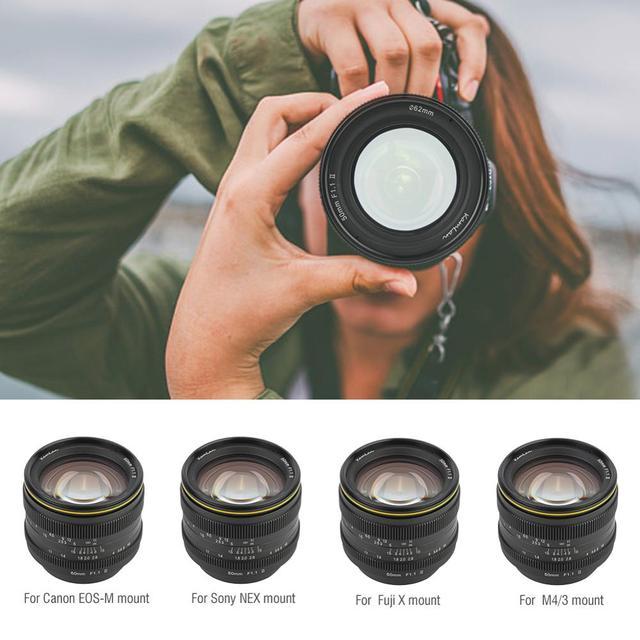 Kamlan 50มม.F1.1IIขนาดใหญ่โฟกัสAPS C MirrorlessสำหรับCanonM Sony E Fuji X M43 Mountกล้อง