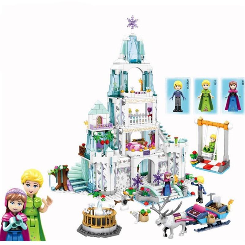 Oyuncaklar ve Hobi Ürünleri'ten Bloklar'de 2019 Peri masalı prenses Kar kraliçesi buz kale yapı taşı Legoinglys Elsa Ve Anna olaf Kristoff rakamlar tuğla oyuncaklar'da  Grup 2