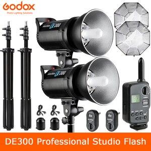 Image 1 - Godox DE300 300W 전문 스튜디오 스트로브 플래시 램프 GN58 사진 조명 초상화 아트 사진 제품 사진