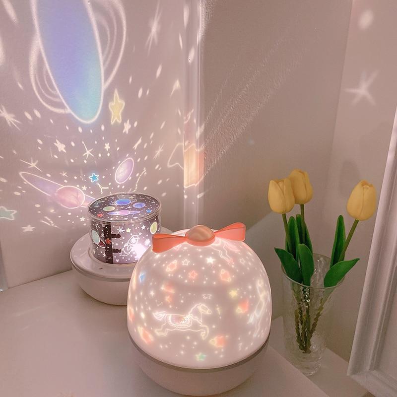 LED Rotating Music Projector Starry Night Light Romantic Projection Light Led Rainbow Starlight Sky Romantic Light Novel