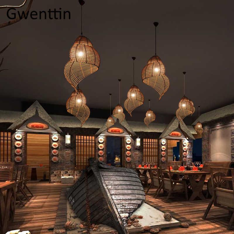 Tre Mặt Dây Chuyền Ánh Sáng Ốc Biển Treo Đèn Đông Nam Á Trang Trí Nhà cho Ăn Phòng Khách Hiện Đại LED Đèn Đèn LED